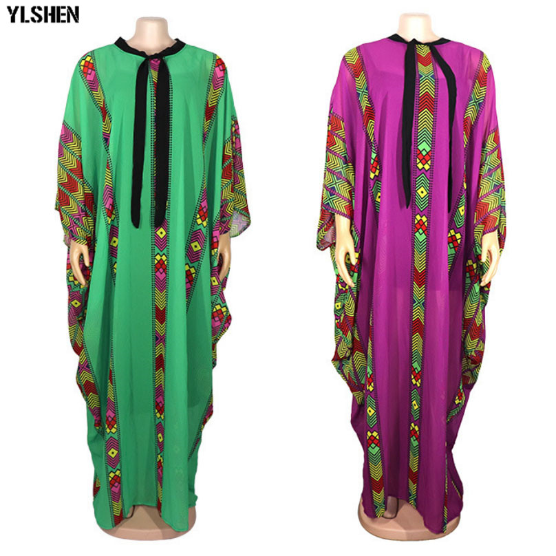 Length 150cm African Dresses For Women Clothes Dashiki New Chiffon Africa Clothing 2019 High Quality Boubou Robe Africaine Dress