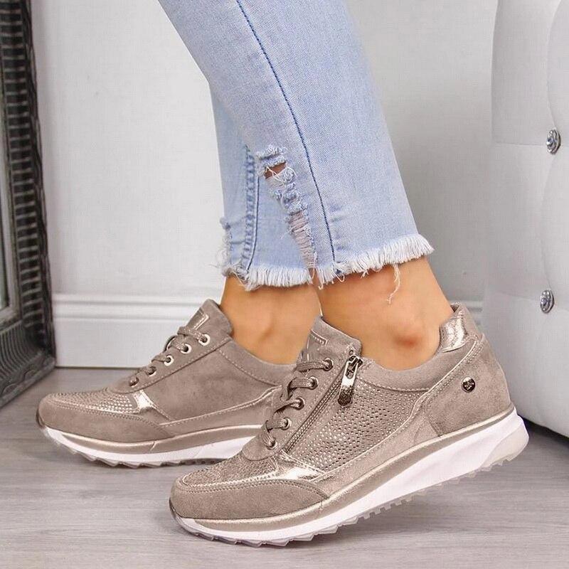 Women Sneakers Ladies Elastic Thicken Heel Running Shoes Zipper Leather Platform Trainers Tenis Feminino 2020 Zapatos De Mujer