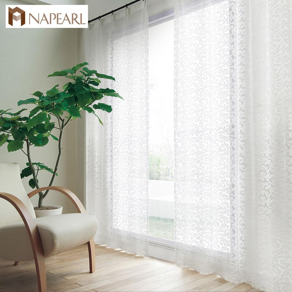 NAPEARL European Style Jacquard Design Home Decoration Modern Curtain Tulle Fabrics Organza Sheer Panel Window Treatment White