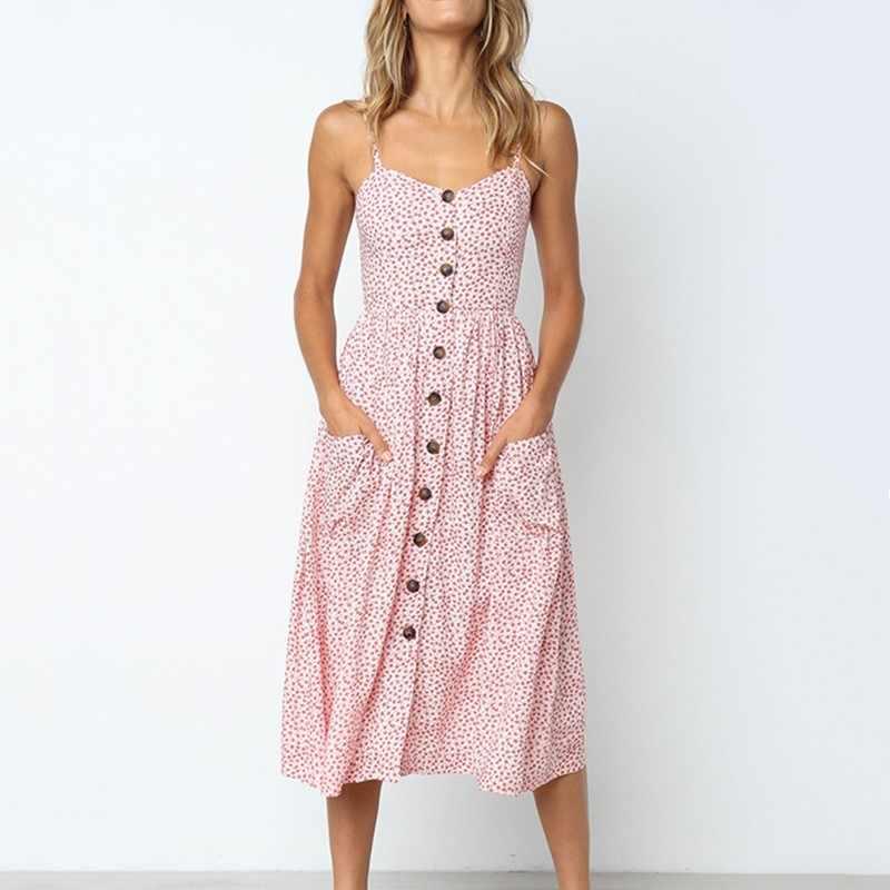 女性のセクシーな夏ミディドレス自由奔放に生きる背中ボタンストライプドット固体ミディドレススリップでポケットローブ