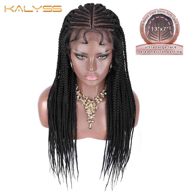"Kalyss 30 Inches 13X7"" Lace Parting Hand Braided Synthetic Lace Front Wigs For Women Long Braided Box Braids Hair Synthetic Wig"