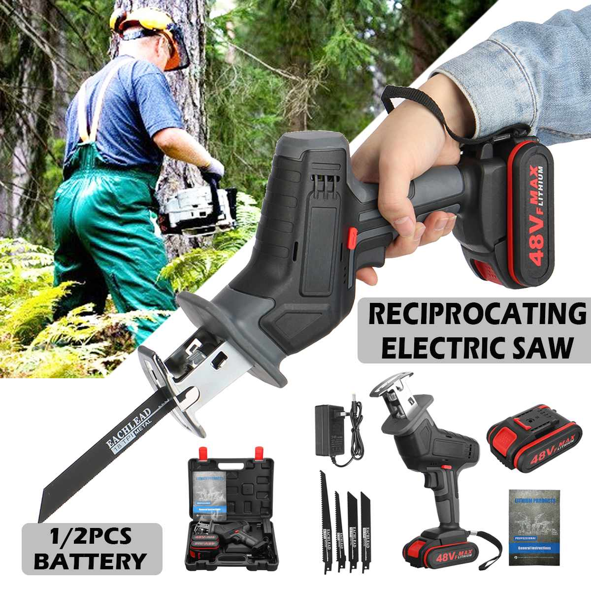 48V Cordless Lithium Battery Reciprocating Saw Wood/metal Cutting Saw Saber Saw Portable Electric Saw Rechargeable Power Tool