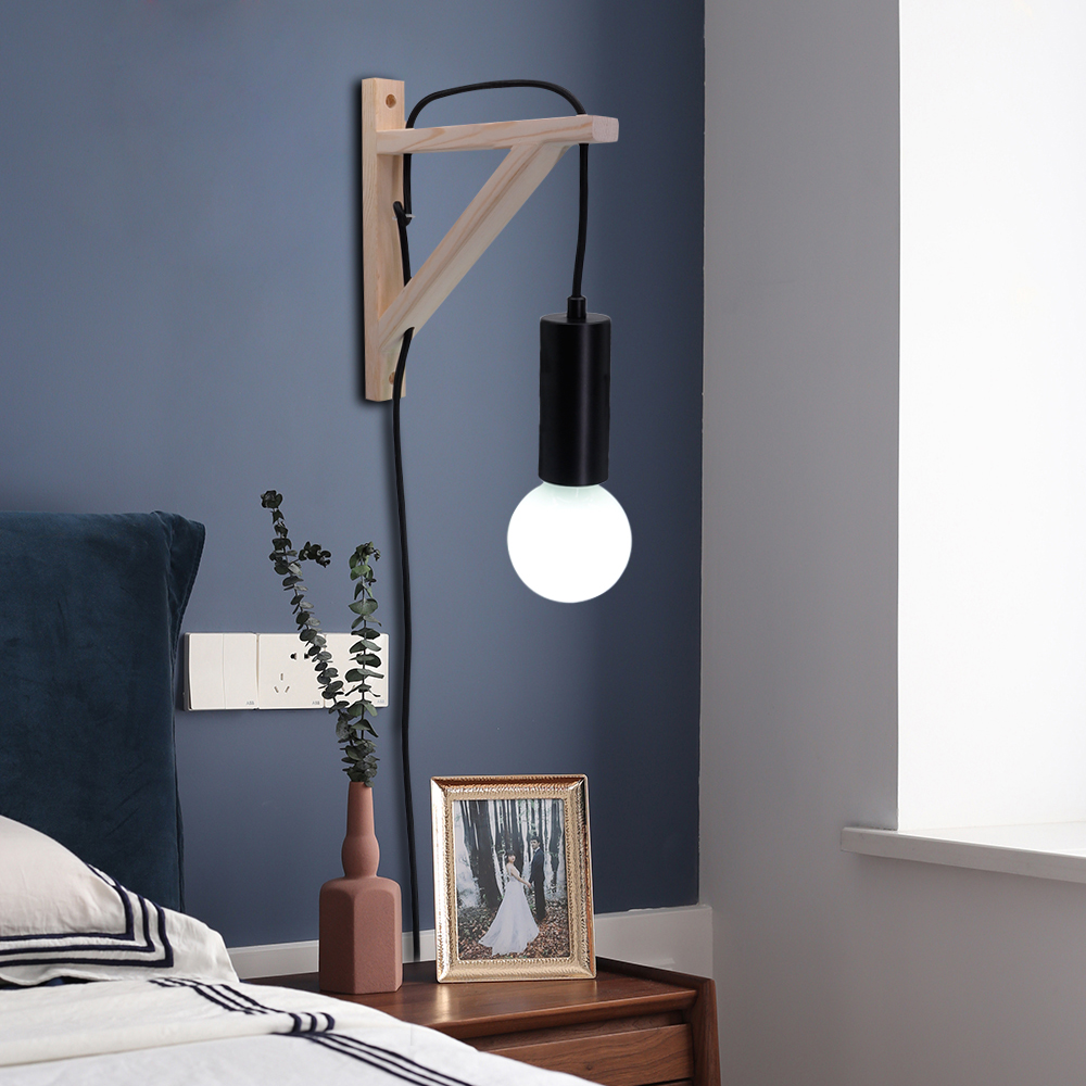Nordic Wooden Wall Lamp Creative Industrial Dining Room Bedroom Indoor Lighting  With Switch Button Cable Bedside Lamp AC 220V