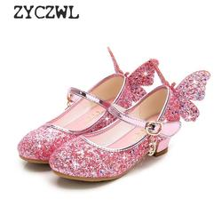 Summer Girls High Heel Princess Sandals Children Shoes Glitter Leather Butterfly Girls Kids Shoes For Party Dress Weddin Party