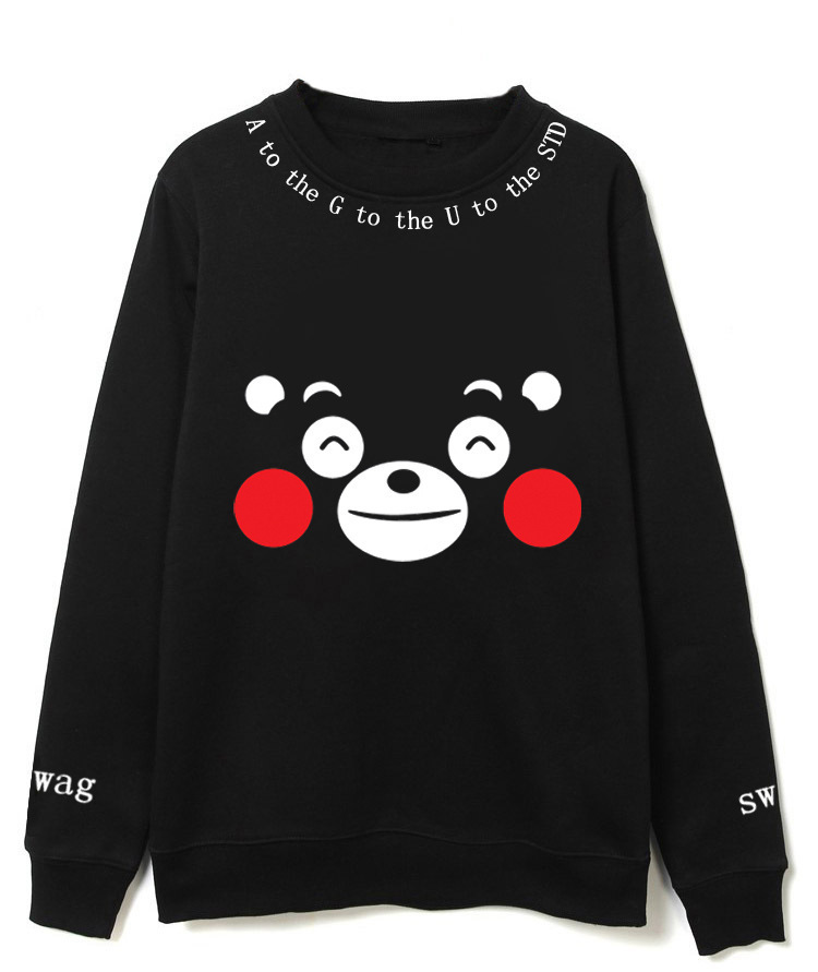 BTS Bulletproof Boys Suga Celebrity Style Round Neck Sweater Kumamoto Bear Printed Hoodie Men And Women Couples Autumn Clothing