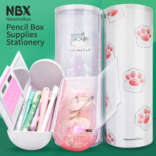 Cute cat large capacity pencil case Kawaii canvas pencilcase transparent quicksand pencil caseFor girls and boys gift school