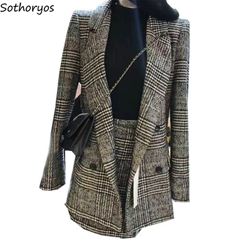 Blazers Women Notched Plaid Simple All-match Retro Pockets Leisure Slim Blazer Womens Korean Style Chic Ladies Elegant Clothing