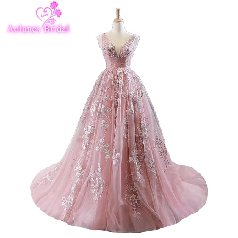 Elegant Dusty Pink Lace Prom Dresses 2019 Appliques A-line Tutu Long Prom Gowns Illsuion V Neck Vintage Vestido Custom Formatura