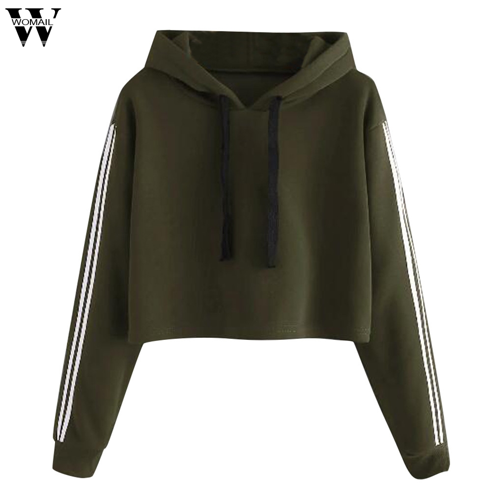 Womail Sweatshirts Autumn Loose women Solid Lace Up Drawstring hoodies and sweatshirts Fashion Long Sleeve Sweatshirt Pullover