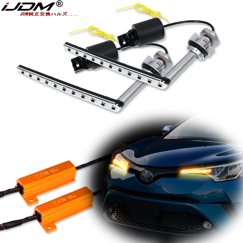 IJDM White/Amber BAU15S PY21W LED Bulb Sequential Flashing Flowing Blinker For 2017-up Toyota C-HR Turn Signal Lights/DRL