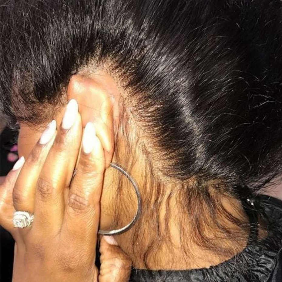 Ably Straight 360 peluca Frontal de encaje brasileño pelucas de cabello humano para mujeres negras Pre desplumado con pelo de bebé no Remy