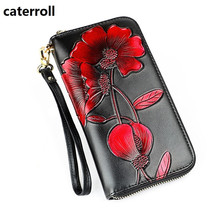 genuine leather wallet women floral female purse long real leather clutch money bag luxury brand ladies wallets and purses