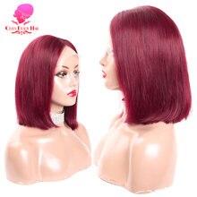 Perruque Bob Lace Wig Remy brésilienne naturelle lisse, cheveux humains, couleur rouge, 13x1 T, pre-plucked, vente en gros, vendeurs en vente