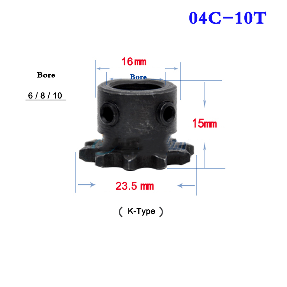 1Pcs 04C Chain Gear Industrial Sprocket Wheel With Top Wire Bore 6/8/10mm