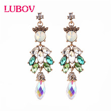 LUBOV 2019 New Colorful Flower Big Brand Design Luxury Starburst Pendant Crystal Stud Earrings Gem Statement Jewelry