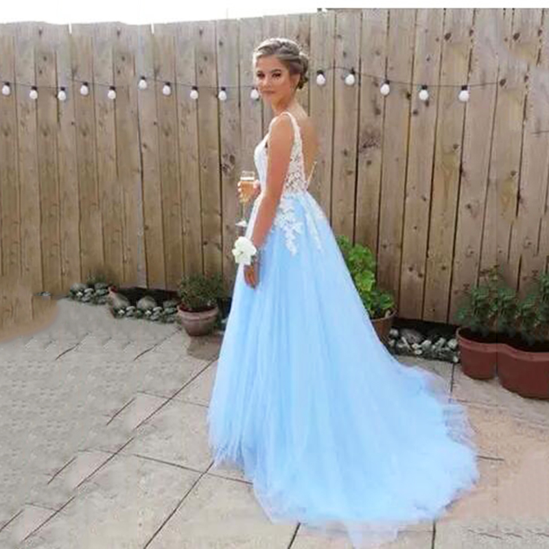 Sky Blue Evening Dresses With Lace Applique Sexy v-neck Backless Spaghetti Straps Formal Prom Gowns vestidos de gala