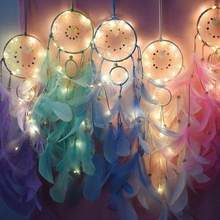 Dream catcher Hand made Dreamcatcher Feathers Night Light Car Wall Hang nordic decoration home children's Room Decor Turkish eye(China)