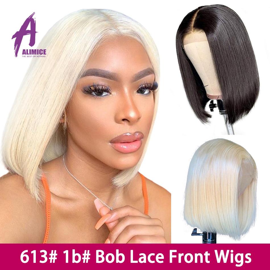 Pelucas de cabello humano 613 Rubio bob con encaje frontal 13x4 pelucas de pelo lacio malasio con corte contundente Bob para mujeres Peluca de cabello Remy 150% Alimice