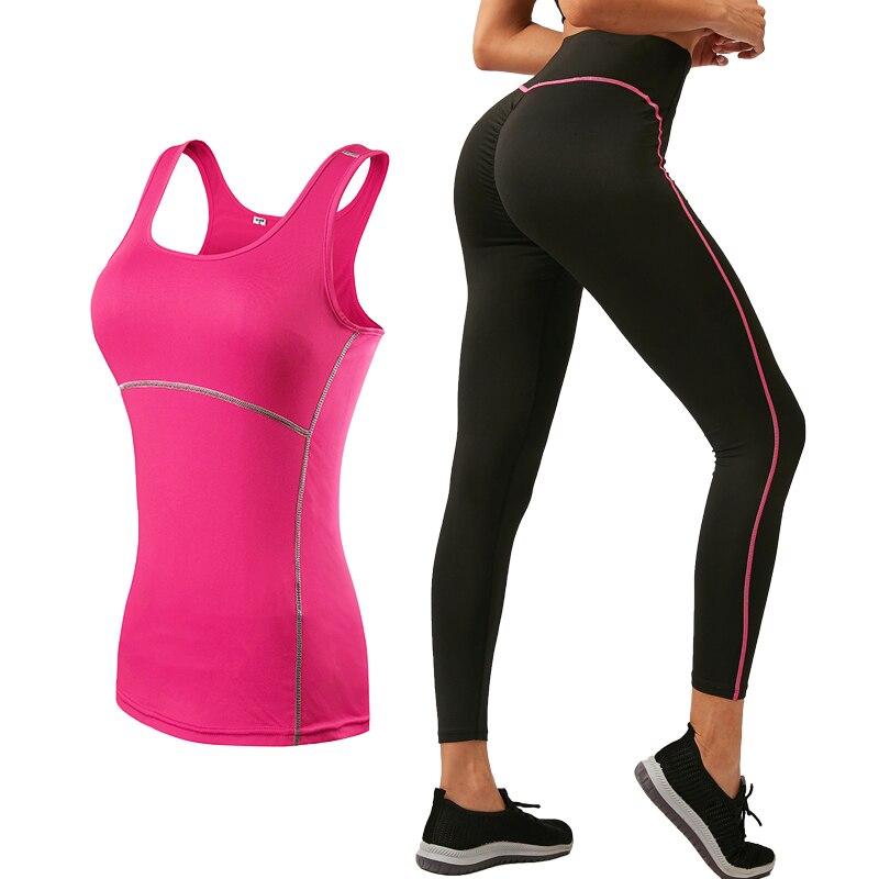 2019 Sports Running Cropped Top +Leggings Set Women Fitness Suit Yoga Sets Gym Trainning Set Clothing Workout Fitness Women Yo