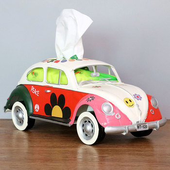 Flower Retro Iron Bus Tissue Box Model Figurines Car Craft Home Decoration Accessories for Living Room Ornaments for Home Decor 11