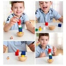 Kids Wooden Geometric Balance Blocks Montessori Game Fun Toys For Children Canvas Bag Educational Learning Gifts 8 pcs/set стоимость