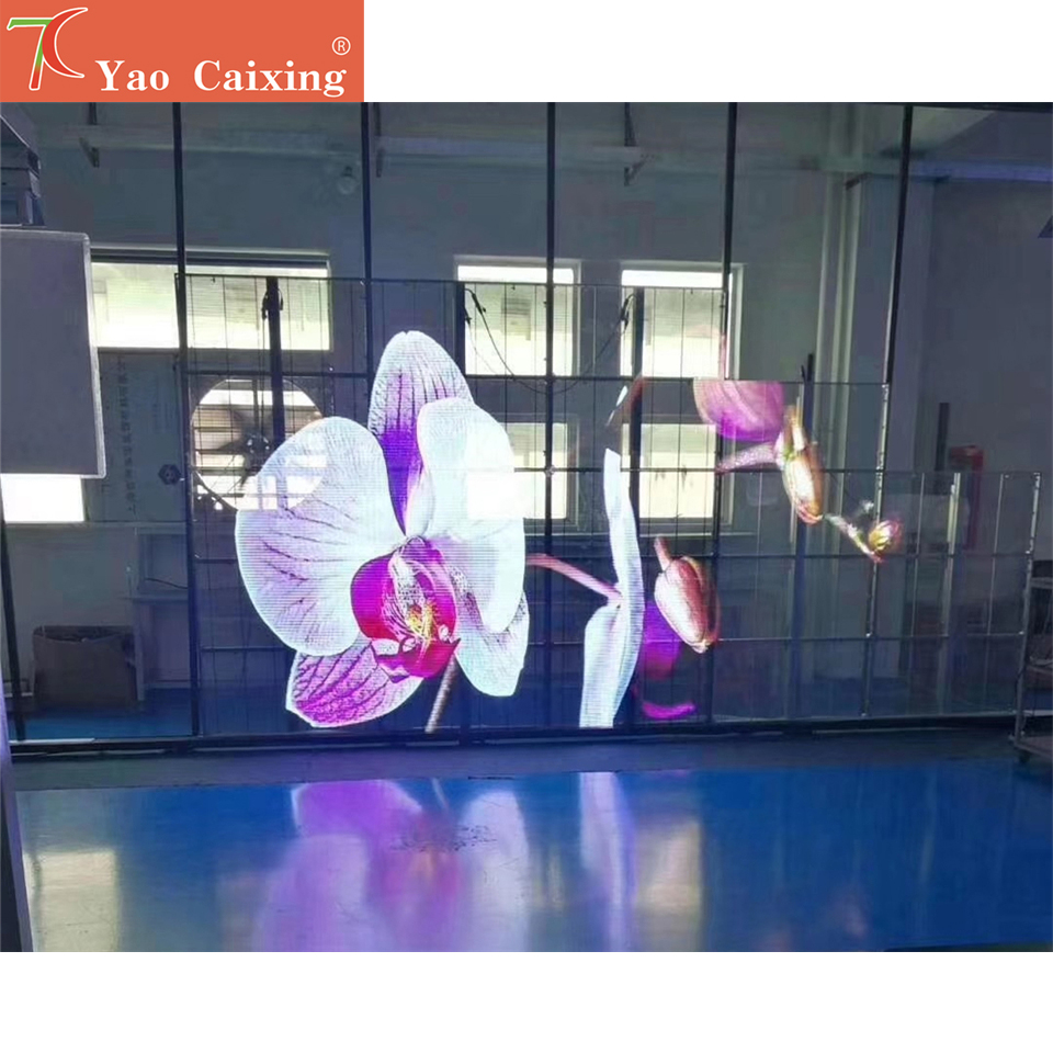 Ycx Aliexpress Transparent Screen P7.8 Indoor Curtain Wall Led Display Video Board