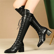 Women Lace Up Strappy Cow Leather Knee High Boots Pointed Toe Chunky Heels Party Pumps Punk Goth Winter Thigh Booties