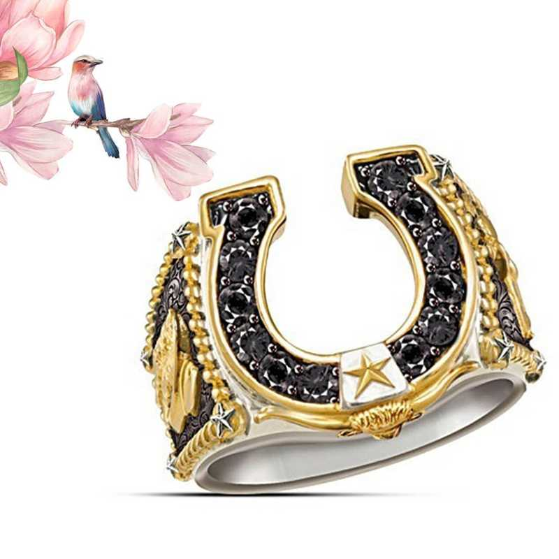 Western Cowboy Horseshoe Ring Spirit Denim Boots Plated Gold Double Color Rings Men Party Dyed Black Jewelry Cowman Gift