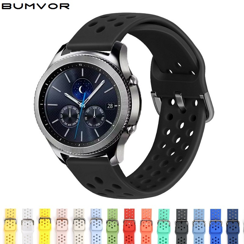22mm 20mm Silicone Watchband for samsung Gear sport s3 s2 classic galaxy watch active 40mm 46mm strap Replacement Accessories