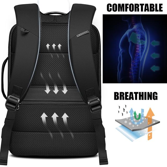 BANGE Laptop Backpack Men 15.6 inch Office Work Men Backpack Business Bag Unisex Black Multifunction Backpack Travel Backpack 5
