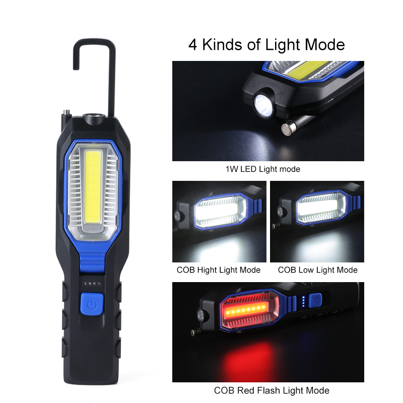 LED Work Light Flashlight USB Rechargeable Handled Work Lamp Built-in Battery Waterproof Magnetic Inspection Lamp For Outdoor