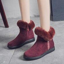 Зимняя Теплая обувь на плоской подошве с мехом; зимние женские ботильоны из флока; женские зимние короткие ботинки; теплая обувь