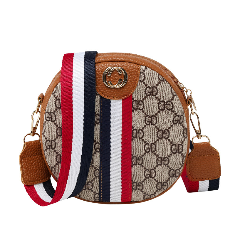 2019 Spring New Style Printed WOMEN'S Bag European And American Fashion Striped Small Round Bag Hand Shoulder Contrast Color Bag