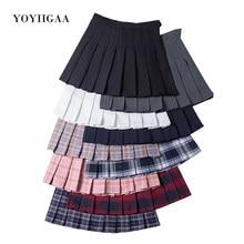 Falda estilo pijo a cuadros para mujer, Falda plisada elegante de cintura alta para estudiantes, uniformes Harajuku, faldas de baile