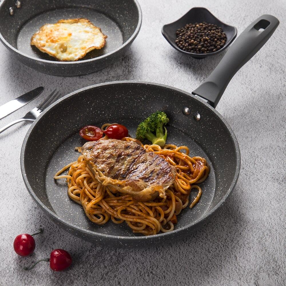 PFOA-revêtement poêle à frire sans pierre, 5 couches de fond, poignée souple antiadhésive, lave-vaisselle en aluminium, ensemble de casseroles de cuisine sûr