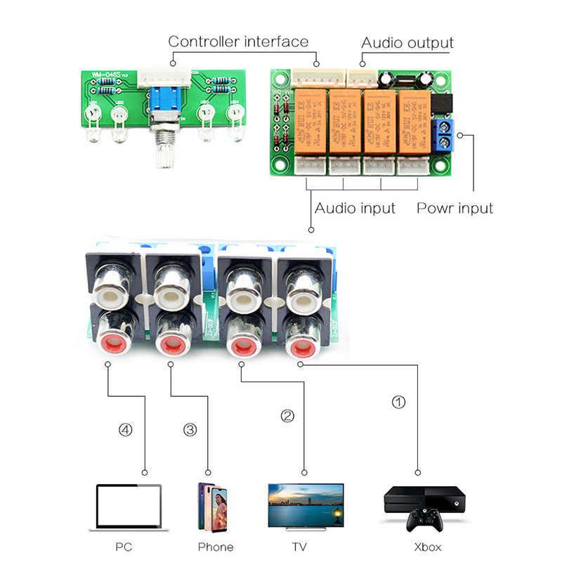 Przekaźnik 4-Way Audio sygnału wejściowego przełącznik RCA wybór wejścia Audio pokładzie obrotowe przełączania dla wzmacniaczy