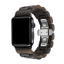 Деревянный браслет для Apple Watch 38 мм 40 мм 42 мм 44 мм Натуральная ручная деревянная замена ремешок для iwatch 5 4 3 2 1 Аксессуары наручный деревянный ремешок с регулируемыми звеньями мужские и женские сменные час