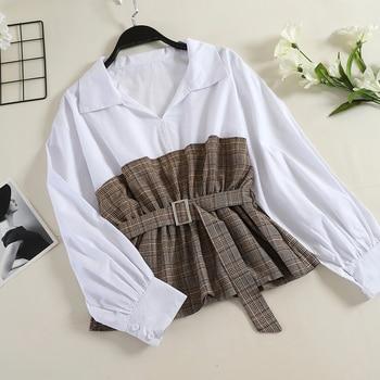 Women Shirt Autumn New Korean Fashion Turn Down Collar Plaid Patchwork Slim Sashes Long Sleeve Blouse  G1178