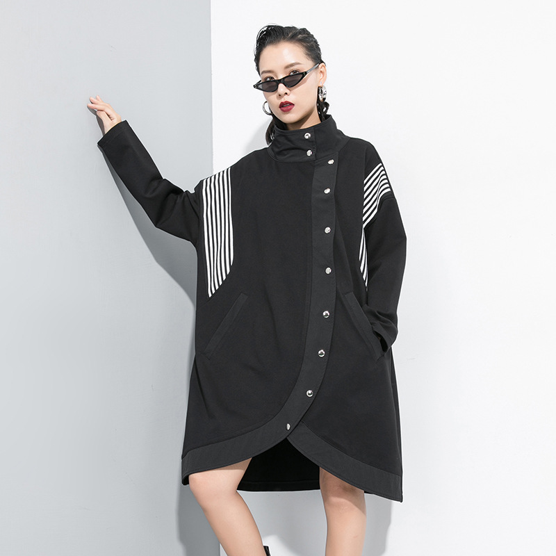 Women Oversized Loose Stripe Button Irregular   Trench   Coat Female Streetwear Hip Hop Punk Gothic Plus Size Long Windbreaker