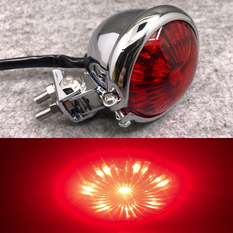 1PC Vintage Universal Motorcycle Rear Light LED Lamp Aluminum Motorbike Tail Brake Indicator For Cafe Racer Honda Yamaha Ducati