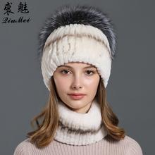 Prawdziwe futro królika rex kapelusz i zestaw szalików dla kobiet nowy pierścień uszczelniający głowy Hankie czapki luksusowe naturalne futro z lisa zimowy szalik i czapki tanie tanio QiuMei WOMEN Dla dorosłych PC2019059 Stałe Szalik Kapelusz i rękawiczki zestawy Moda 0 32kg scarf hat scarf hat gloves set