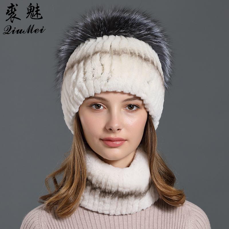 Real Rex Rabbit Fur Hat And Scarf Set For Women New Neck Ring Head Hankie Beanies Luxury Natural Fox Fur Winter Scarf And Caps