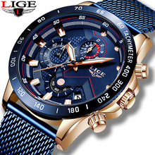 2019 LIGE Men Watch Luxury Brand Blue Me