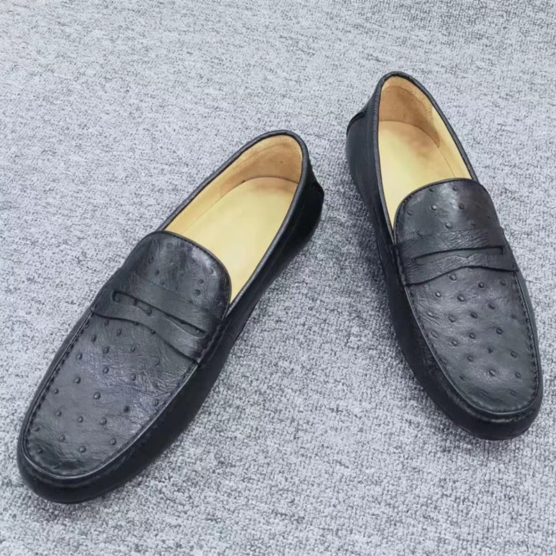Authentic Real Ostrich Skin Men's Moccasins Shoes Soft Sole Chic Loafers Genuine Exotic Leather Male Slip-on Driving Flats