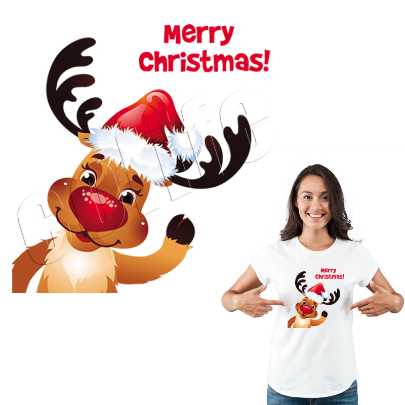 Heat Transfer <font><b>Patches</b></font> Christmas <font><b>Deer</b></font> Washable Diy Accessory Clothes Decoration Print On T-Shirt New Design Clothes Stickers image