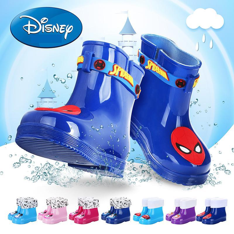 Disney Winter Plus Velvet Children Rain Boots Marvel Boys Spiderman Rain Boots 1-3 Year Old Baby Girl Child Rubber snow Boots