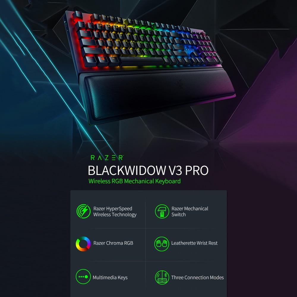 Mechanical Keyboard Razer Blackwidow Wireless Green Pro Gaming with RGB V3