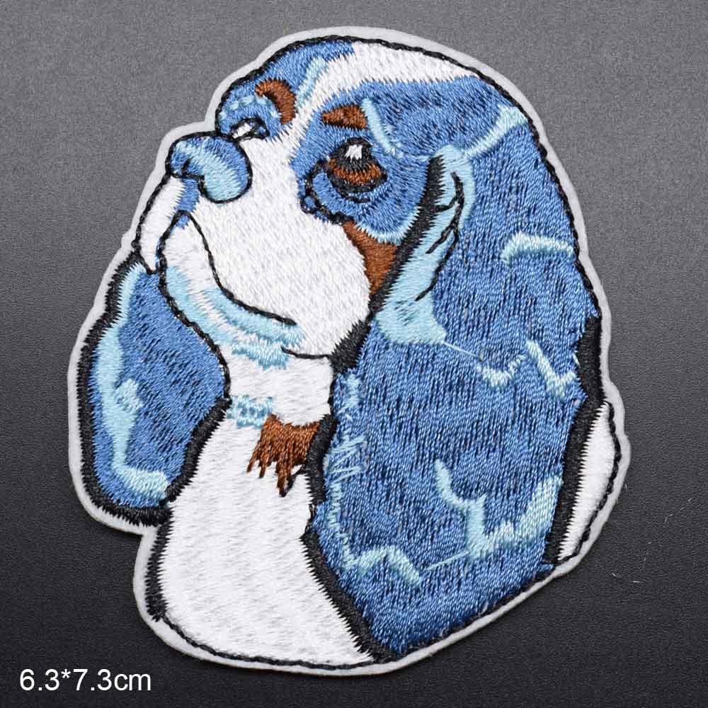 Пятнистая собака полная вышивка Железная на вышитой одежде нашивки для одежды наклейки одежды торговля - Цвет: lanse gou