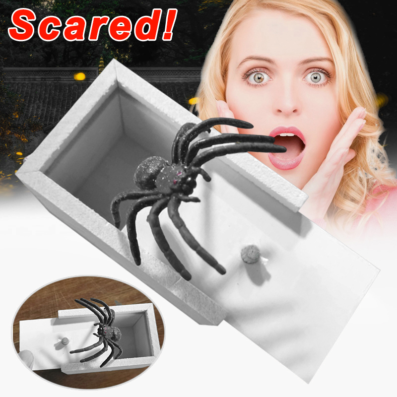 Prank Spider Scare Box Case Joke Lifelike Funny Surprise Gag Toy Kids Gift BM88