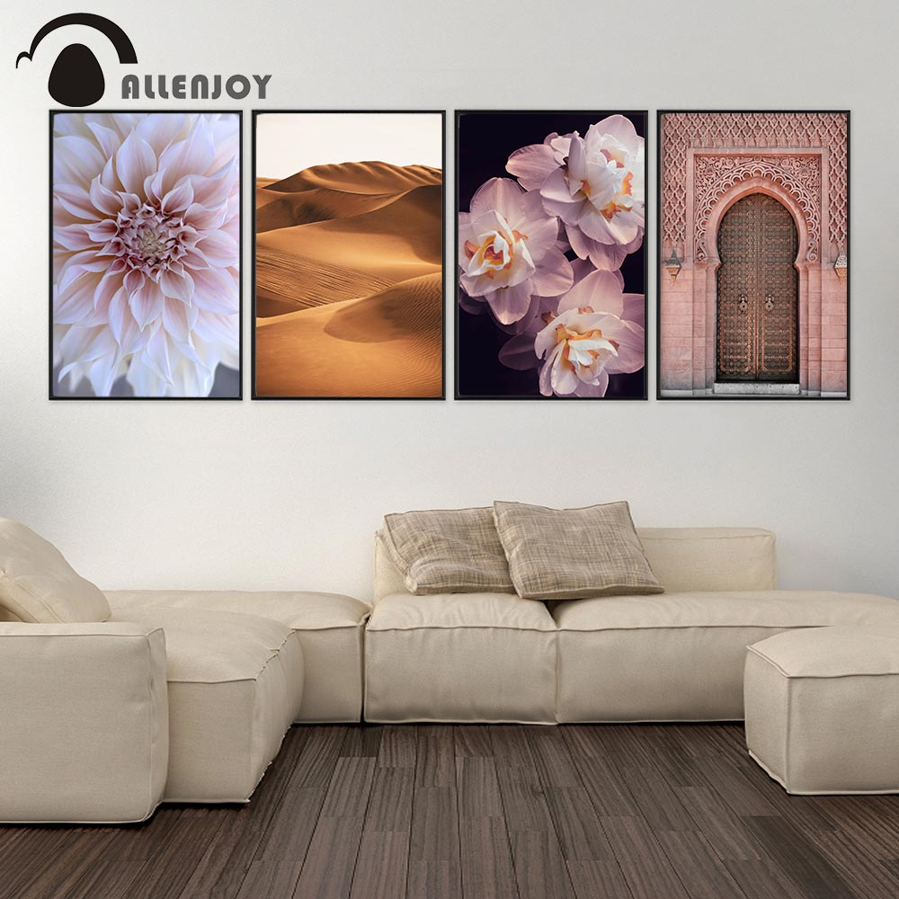 Allenjoy Islamic Canvas Posters Flowers Desserts Masjid Ancient Gates Wall Pictures Nordic Vintage Canvas Paintings Home Decor